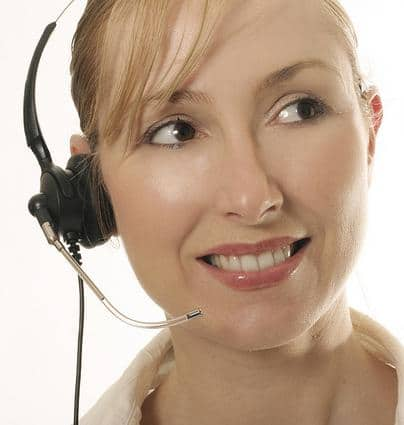 Receptionist with Headset on for Medical Answering Service   TeleMed Inc.