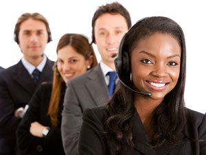 Diverse Men and Women with Headset for Medical Answering Service | TeleMed Inc.