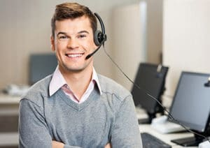 Medical Answering Service Man with Headset   TeleMed Inc.