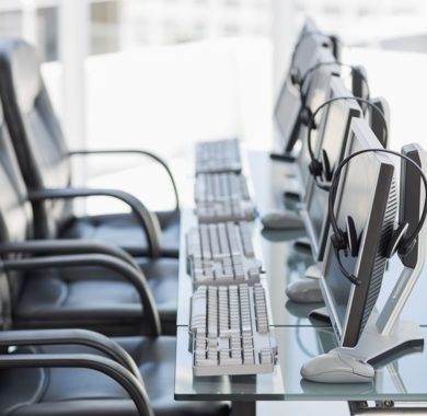 Headsets on Computer Screens | Medical Answering Service | Telemed Inc.